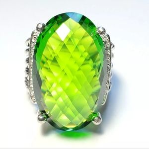 David Yurman - Oval Peridot & Diamond Ring